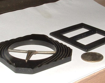 BAKELITE BELT BUCKLES----- u get both- 1920s deco style- still nice- black color