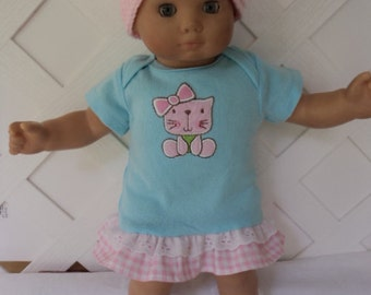 Bitty Baby Girl cute 3 pc. kitty  dress with  Socks and a Hat,    doll clothes