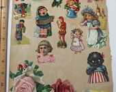 "Victorian scrapbook 27 images 2 - 5"" sizes black girl, chinese lady, flowers, cats, cupid, Valentine much more"