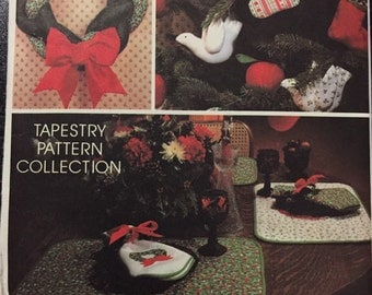 McCalls 5380 sewing pattern, tapestry pattern collection wreath ornaments table runner, placemats, napkins, large wreath, dove apple AVON Co