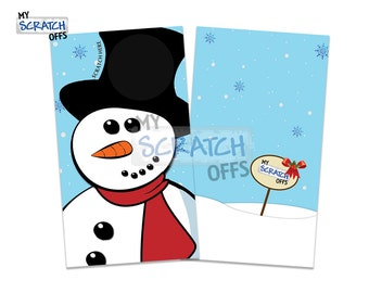 Snowman Scratch Off Game Cards - Happy Holiday Christmas Scratch-Off Cards