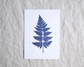 Fern botanical print in metallic purple foil leaf botany shiny limited edition 'Botanique Electrique' collection