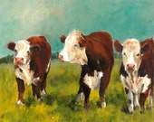 Cow Painting- Herefords in the Afternoon- Paper Giclee print of an original painting