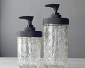 Quilted Mason Jars Set of two soap dispensers, small and tall version, rustproof, food safe, black plastic pump and lid