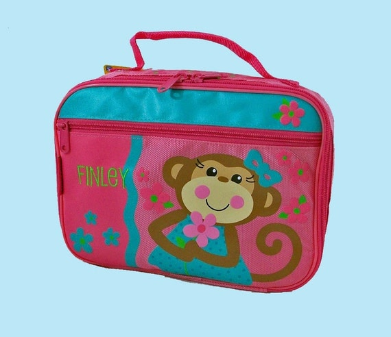 Stephen Joseph Child's GIRL MONKEY Themed Lunchbox Personalized For Free