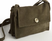 Clearance! Alex Petit - a Compact Recycled Green Suede Messenger Bag  a button closure, Zipper Pocket and Adjustable Strap