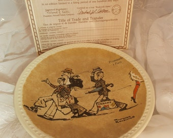 Norman Rockwell Promenade a Paris Collectible Plate Newell Pottery Company
