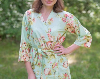 Mint Flower Rain Patterned Robe | Kimono Style getting ready robe, bridal shower gift, dressing gown, Floral Robe