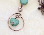 Green Gemstone Heart Necklace - Green Magnesite Pendant - Copper Statement Necklace - Magnesite Gemstone Necklace - Oxidized Copper - Zanna