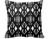 Modern Graphic Black and White Designer Throw Pillow w/ Insert