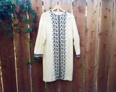 Vintage Vicky Vaughn Juniors Dress - Long Sleeve, White with Black Folky Flower Pattern, Medium/Large