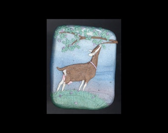 Dairy Goat Jewelry: The Togg Doe and a Tree Pin or Pendant. Original Bas-Relief Sculpture in Polymer Clay. Blue Green Brown Pink White 4127