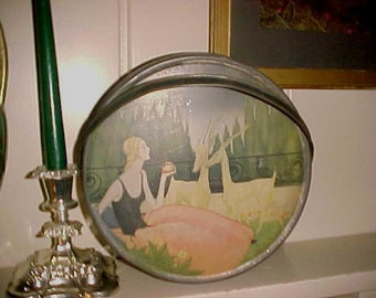 Vintage ART DECO  Metal Tin Sunshine Biscuits Basket Style Lg GORGEOUS Graphics Must See