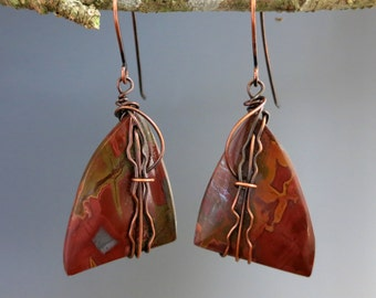 Jasper Wire Wrapped Harp Earrings, Copper & Natural Stone, One of a Kind Handcrafted Earrings, READY TO SHIP
