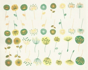 Modern Flowers - Decals for Ceramic, Glass and Enamel