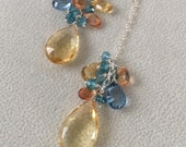 Semiprecious Gemstone Long Dangle Earrings in Sterling Silver, Citrine, Mystic Tanzanite Blue Topaz, Mystic Grapefruit Topaz and Blue Zircon