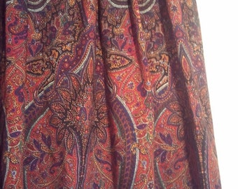 SALE boho hippie paisley skirt pleated grunge bohemian beatnik size 12 80s 90s