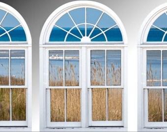Faux window frame, photo wall decals Lake Huron, Michigan- window view-large 3 piece set-24x36 each panel