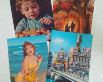 Vintage Postcards, 2 printed in Japan (bikini woman on beach, yokohama street), 2 in Italy (birthday boy)