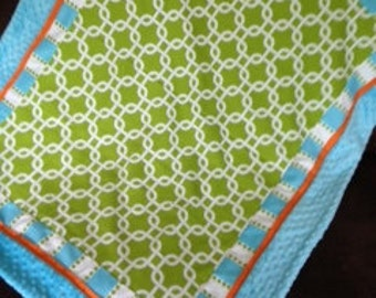 Lime orange turquoise blanket Baby quilt minky dot boy