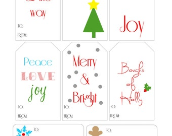 Christmas Gift Tags Instant Download