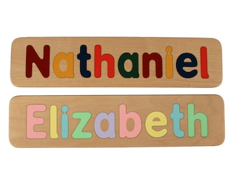 Name Puzzle - Raised Letters - Custom Personalized - Wooden - Birthday Gift - Educational - Kids Wood Name - Mixed Case Letters Only