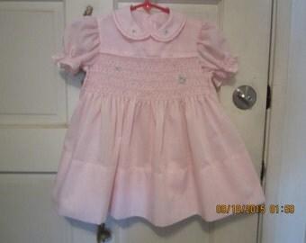 Vintage  SMOCKED Dress Pink Homemade
