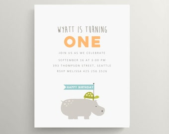 hippo and turttle birthday invitation set // baby shower invitation // zoo animals // first birthday invitation // modern // note card