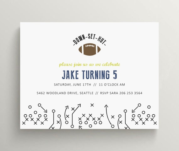 football birthday invitation set  //  baby shower invitation  //  football party // simple // play book // boys birthday // sports