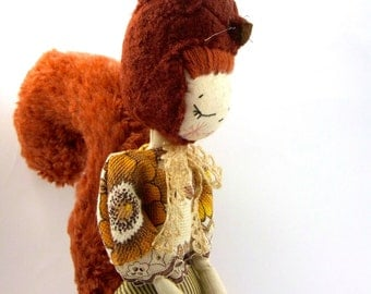Squirrel cloth doll, art doll, hand made from vintage fabrics