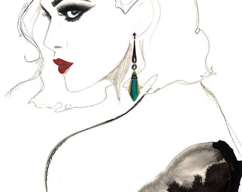 Deco Drama, print from original watercolor and mixed media fashion illustration by Jessica Durrant