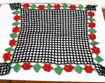 Crochet Dresser Doily Black With Dimensional Red Roses Green Leaves