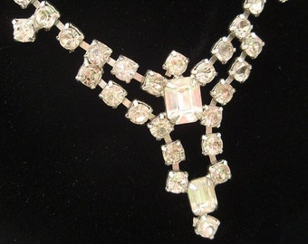 Clear Rhinestone Vintage Necklace  Bridal Wedding Hollywood Glamour Bride