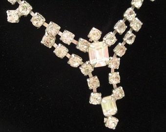 Vintage Rhinestone Necklace  Bridal Wedding Hollywood Glamour Bride Clear Rhinestones