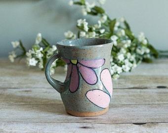 Ceramic Mug / Hand Painted / Flowers