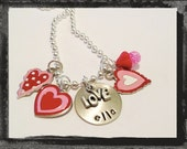 Valentine Necklace Personalized Handstamped HEART HEART HEART Custom Jewelry Valentines Day Necklace #V7