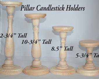 Wood Pillar Candlestick Holders- DIY Wedding Accents, Home Decor, Tall Candlestick Holders, Wedding Table Candlestick Holders, Various Sizes