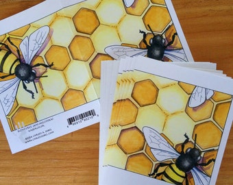 6 Honey Bee blank cards