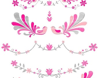 ON SALE Digital clipart for all use, elegant peacock 2 , peacock clipart, birds clipart , invites , flowers border , pink and grey