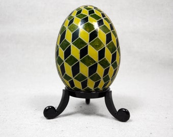 Modern, Escher, Geometric, Green Easter Egg, Pysanky, Green Geometric, Yellow Geometric, Yellow Green Ukrainian Pysanky, Modern Art - G16D