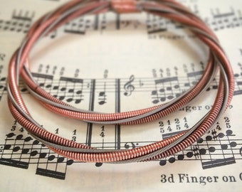 Recycled Piano and Electric (OR BASS, your choice) Guitar String Bracelet Copper Mens Unisex Womens Unique Musician Gift