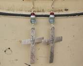 Solid Silver Nun Cross Earrings with Aquamarine, pearl and ruby