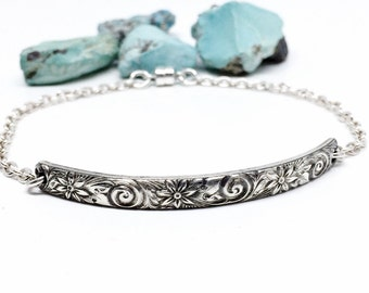 Floral Bangle Bracelet, Sterling Silver, Jewelry for women, Magnetic Claps