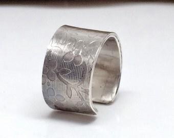 Sterling Silver Ear Cuff, Floral Ear Cuff, Jewelry for Women, No Pierce Earrings