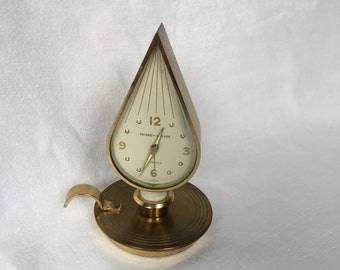 PHINNEY-WALKER Brass Swiss Candle Flame Clock 7 Jewels Brass Candle Flame DesignAlarm Clock