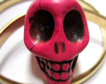2 Hot pink Skull Beads Turquoise Beads Dyed red 30x23 27mm thick day of the dead beads
