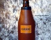 CUSTOM Leather Beer Bottle Insulator - Mens Gift - Womens Gift - Monogrammed Beer Holder -  Bison Leather Coolie - Cowhide Beverage Holder -