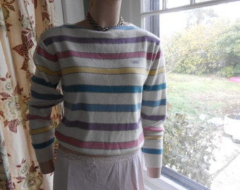 Brittania 80's Striped, Boat Neck, Wool Sweater - Size M-L