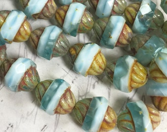 11 x 10mm Turbine Beads Blue Aqua with Sky Blue and Picasso color Czech glass beads 6 pcs