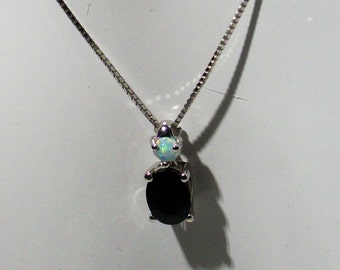 Sterling Silver Necklace, featuring a Blue Sapphire and a Ethopian Welo Opal, suspended on a Classic Box Chain